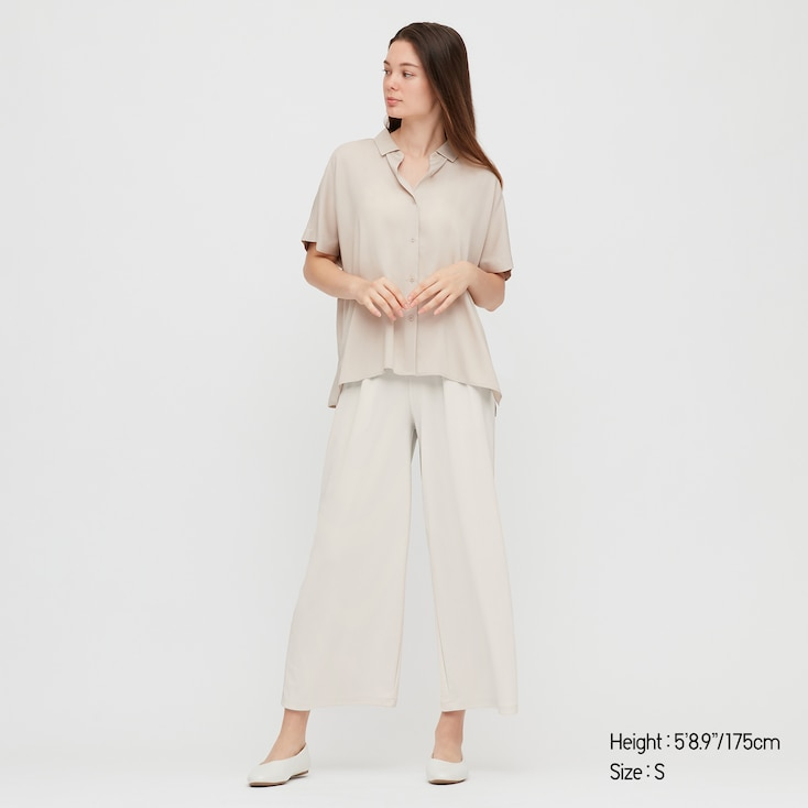 Women Crepe Jersey Wide Pants, Natural, Large