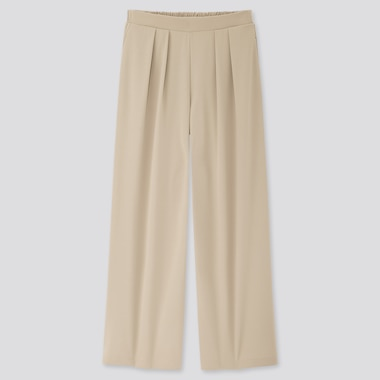 Women Crepe Jersey Wide Pants, Beige, Medium
