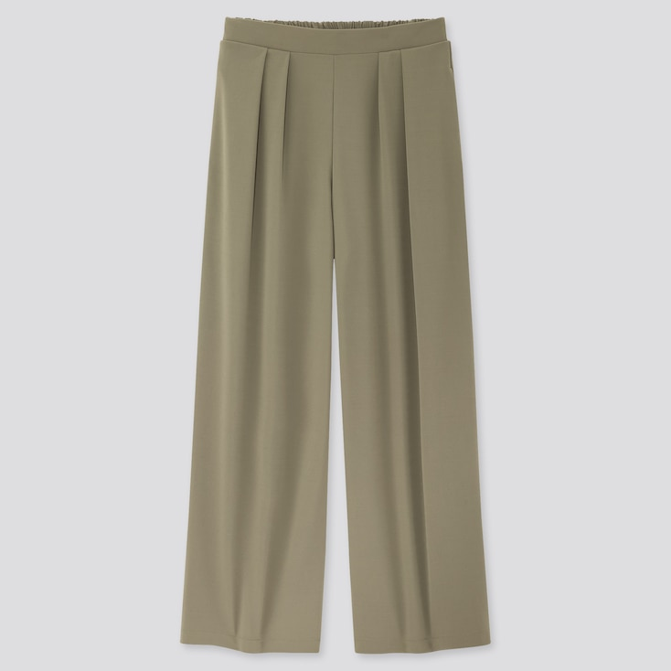 Women Crepe Jersey Wide Pants, Olive, Large