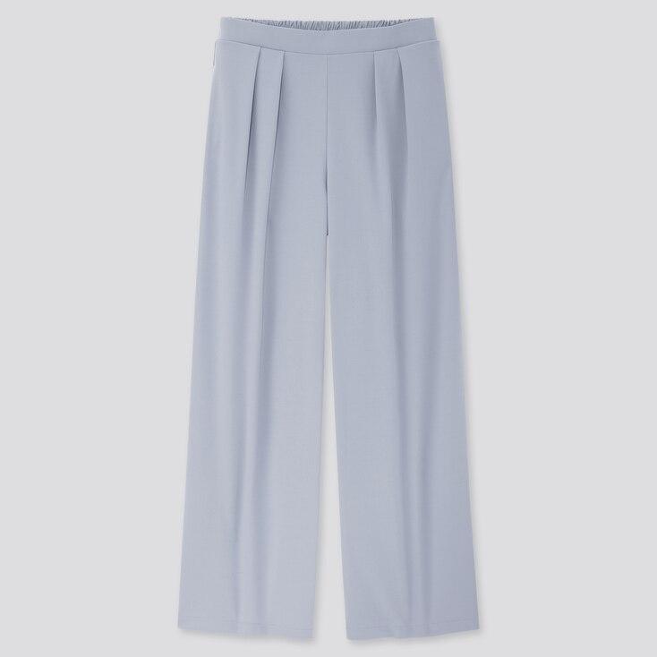 Women Crepe Jersey Wide Pants, Blue, Large