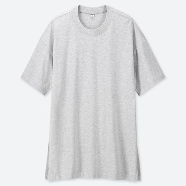 WOMEN COTTON OVERSIZED SHORT-SLEEVE TUNIC, LIGHT GRAY, medium