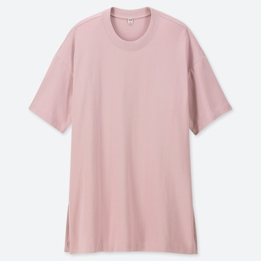 WOMEN COTTON OVERSIZE SHORT-SLEEVE TUNIC, PINK, medium