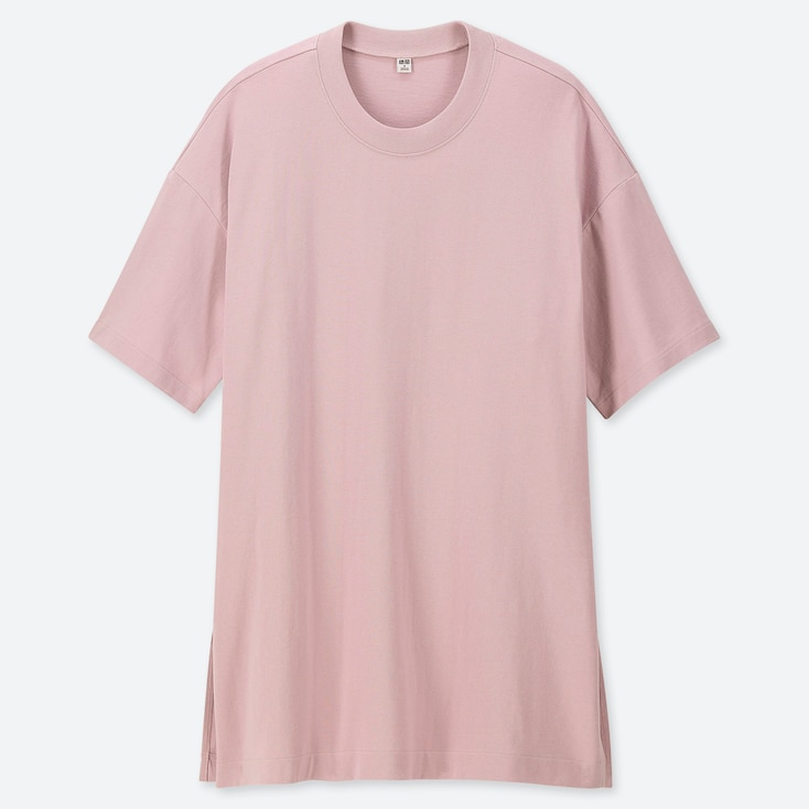 WOMEN COTTON OVERSIZED SHORT-SLEEVE TUNIC, PINK, large