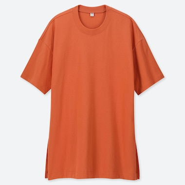 WOMEN COTTON OVERSIZED SHORT-SLEEVE TUNIC, ORANGE, medium