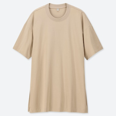 WOMEN COTTON OVERSIZED SHORT-SLEEVE TUNIC, BEIGE, medium