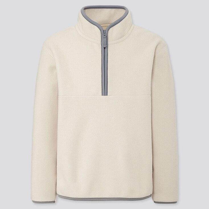 Kids Fleece Half-zip Long-sleeve Pullover, Off White, Large