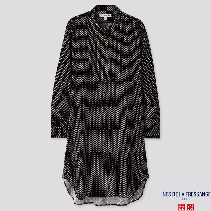 WOMEN FLANNEL PRINTED LONG-SLEEVE DRESS (INES DE LA FRESSANGE), 80, large