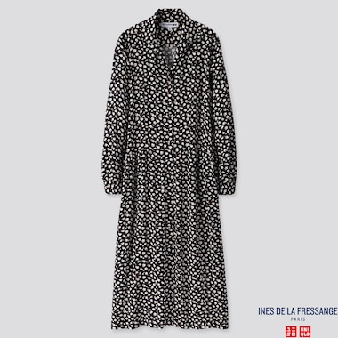 WOMEN RAYON PRINTED SHIRT LONG-SLEEVE DRESS (INES DE LA FRESSANGE), NAVY, medium