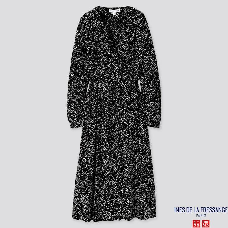 WOMEN RAYON CREPE PRINTED WRAP LONG-SLEEVE DRESS (INES DE LA FRESSANGE), 80, large