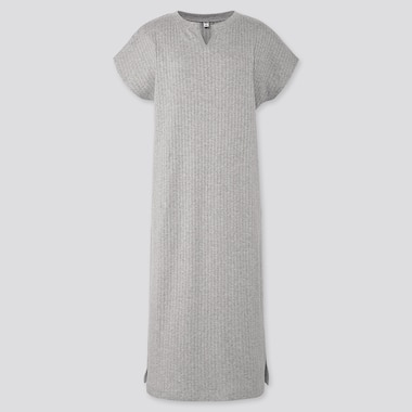 WOMEN RIBBED SPLIT NECK SHORT-SLEEVE LONG DRESS (ONLINE EXCLUSIVE), GRAY, medium