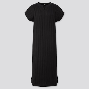 WOMEN RIBBED SPLIT NECK SHORT-SLEEVE LONG DRESS (ONLINE EXCLUSIVE), BLACK, medium
