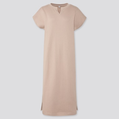 WOMEN RIBBED SPLIT NECK SHORT-SLEEVE LONG DRESS (ONLINE EXCLUSIVE), NATURAL, medium