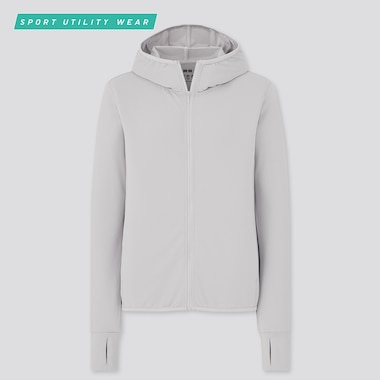 Women Airism Uv Cut Mesh Long-Sleeve Full-Zip Hoodie, Light Gray, Medium