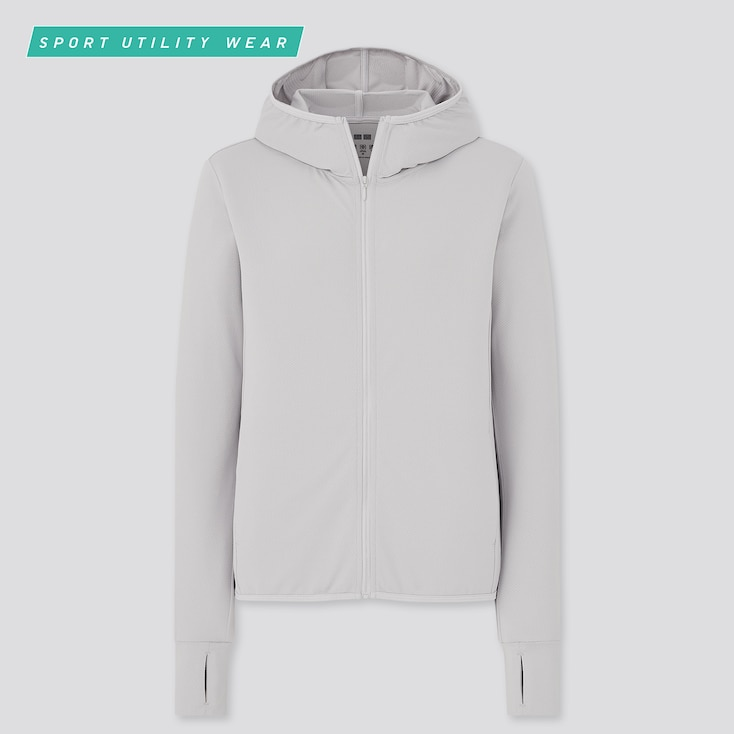 Women Airism Uv Cut Mesh Long-Sleeve Full-Zip Hoodie, Light Gray, Large