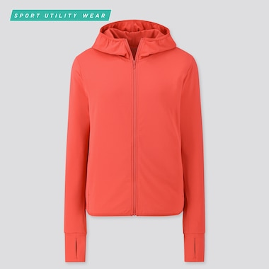 Women Airism Uv Protection Mesh Long-Sleeve Full-Zip Hoodie, Red, Medium