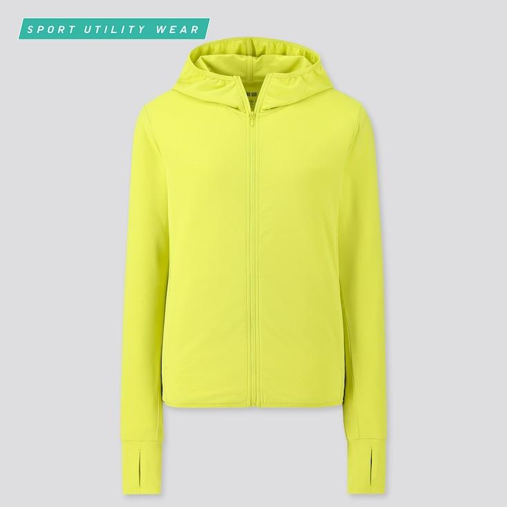 Women Airism Uv Cut Mesh Long-Sleeve Full-Zip Hoodie, Yellow, Large