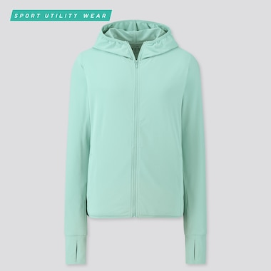 Women Airism Uv Protection Mesh Long-Sleeve Full-Zip Hoodie, Green, Medium