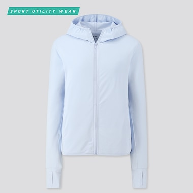 Women Airism Uv Cut Mesh Long-Sleeve Full-Zip Hoodie, Blue, Medium