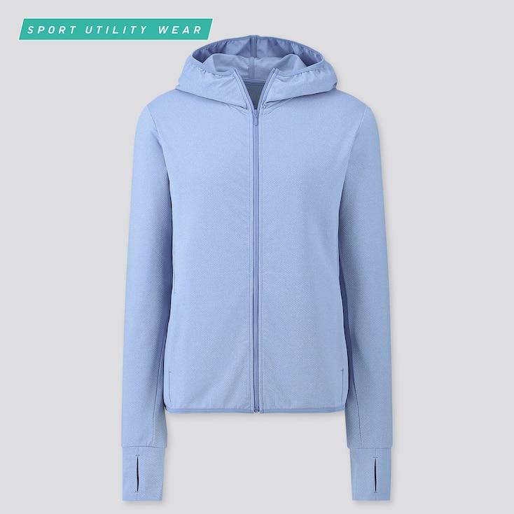 Women Airism Uv Cut Mesh Long-Sleeve Full-Zip Hoodie, Blue, Large