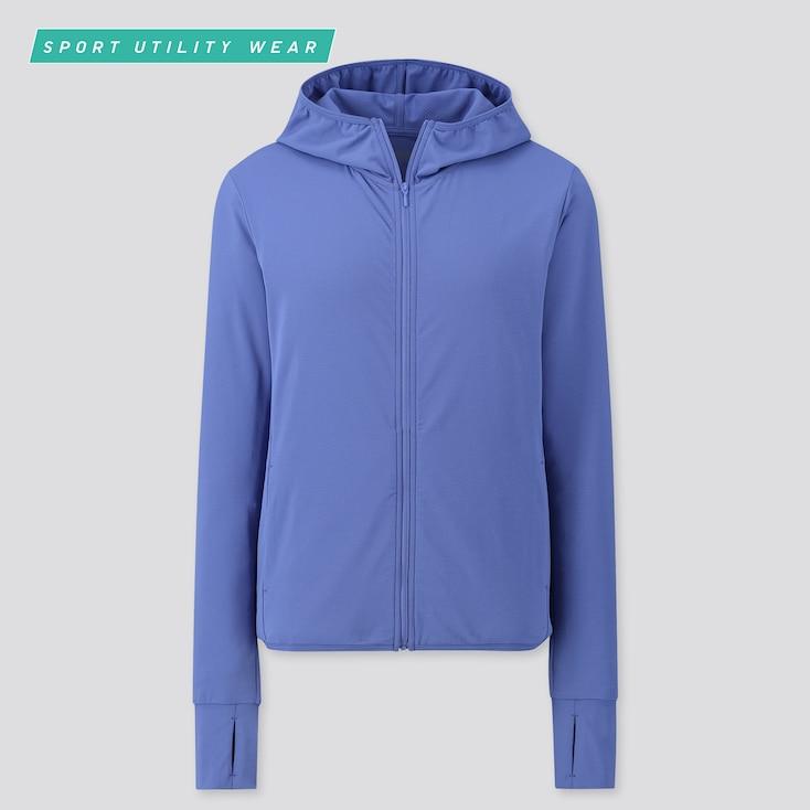 Women Airism Uv Protection Mesh Long-Sleeve Full-Zip Hoodie, Blue, Large