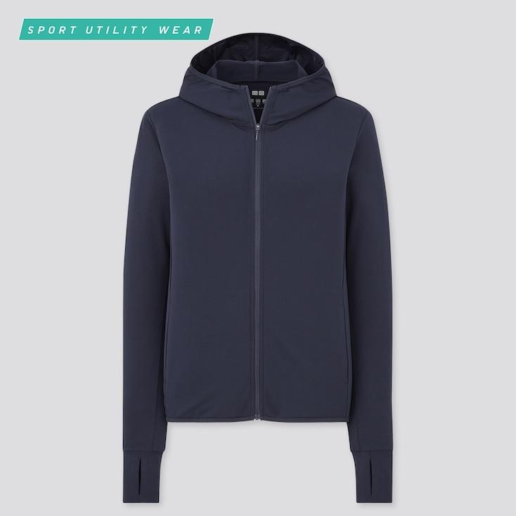 Women Airism Uv Protection Mesh Long-Sleeve Full-Zip Hoodie, Navy, Large