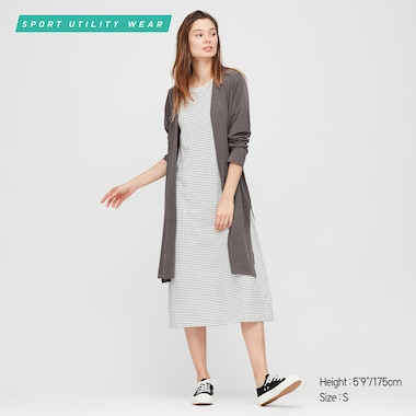 Women Airism Uv Protection Long-Sleeve Long Cardigan, Dark Gray, Medium