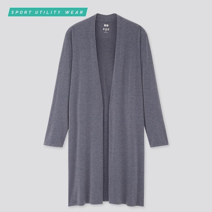 Women Airism Uv Protection Long-Sleeve Long Cardigan, Blue, Large