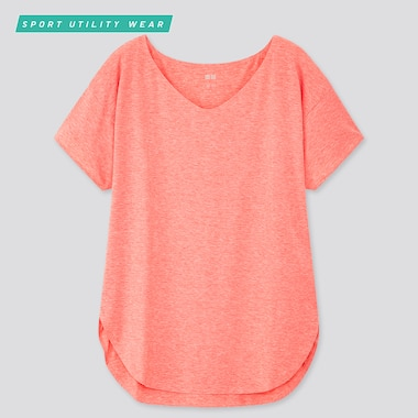 Women Airism V-Neck Short-Sleeve Long T-Shirt, Pink, Medium