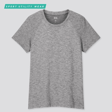 Women Dry-Ex Crew Neck Short-Sleeve T-Shirt, Dark Gray, Medium