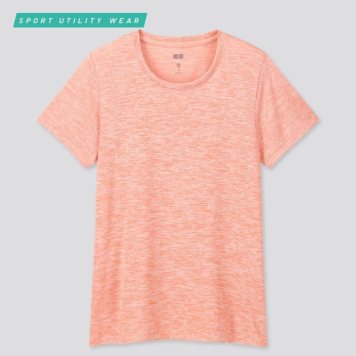 Women Dry-Ex Crew Neck Short-Sleeve T-Shirt, Pink, Large