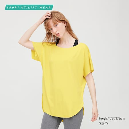 Women AIRism Ribbed Relaxed Fit Crew Neck Short Sleeved T-Shirt