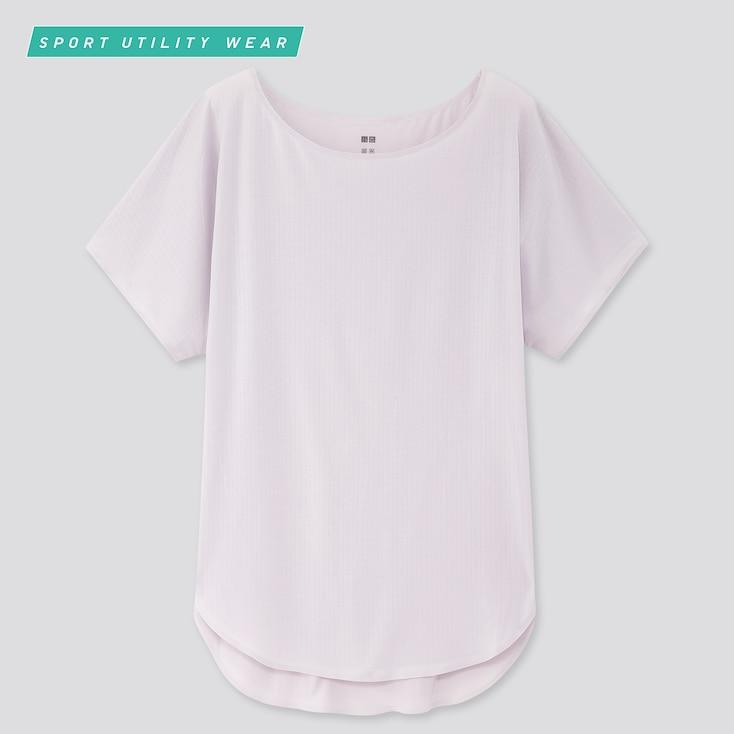 Women Airism Wide-Ribbed Crew Neck Long T-Shirt, Light Purple, Large