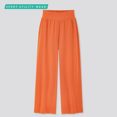 Women Airism Wide Pants, Orange, Medium