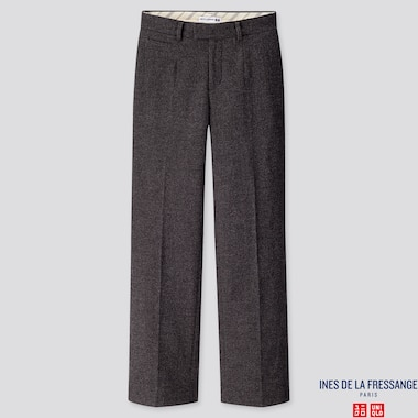 WOMEN SOFT TWEED WIDE-LEG PANTS (INES DE LA FRESSANGE), DARK GRAY, medium