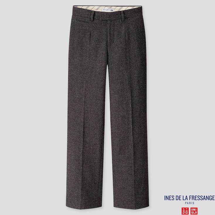 WOMEN SOFT TWEED WIDE-LEG PANTS (INES DE LA FRESSANGE), DARK GRAY, large