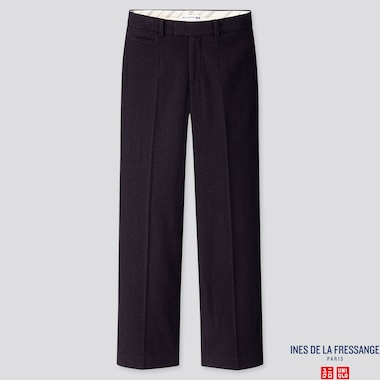 WOMEN SOFT TWEED WIDE-LEG PANTS (INES DE LA FRESSANGE), NAVY, medium