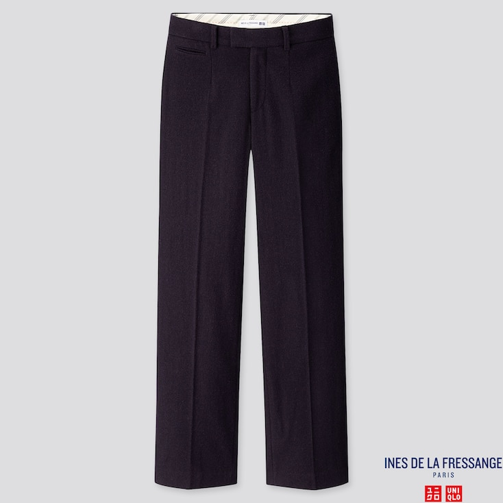WOMEN SOFT TWEED WIDE-LEG PANTS (INES DE LA FRESSANGE), NAVY, large