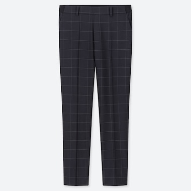 WOMEN EZY WINDOWPANE CHECKED ANKLE LENGTH TROUSERS (L28)