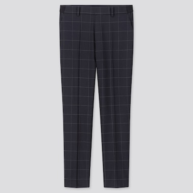 "WOMEN EZY WINDOWPANE ANKLE-LENGTH PANTS (TALL 30"") (ONLINE EXCLUSIVE), NAVY, medium"