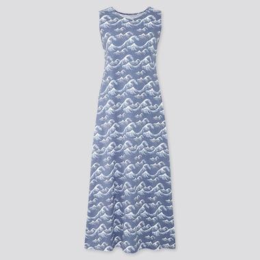 Women Edo Ukiyo-E A-Line Sleeveless Long Dress, Gray, Medium