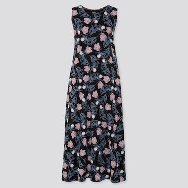 Women Edo Ukiyo-E A-Line Sleeveless Long Dress, Black, Medium