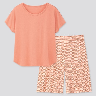 Women Printed Short-Sleeve Lounge Set, Pink, Medium