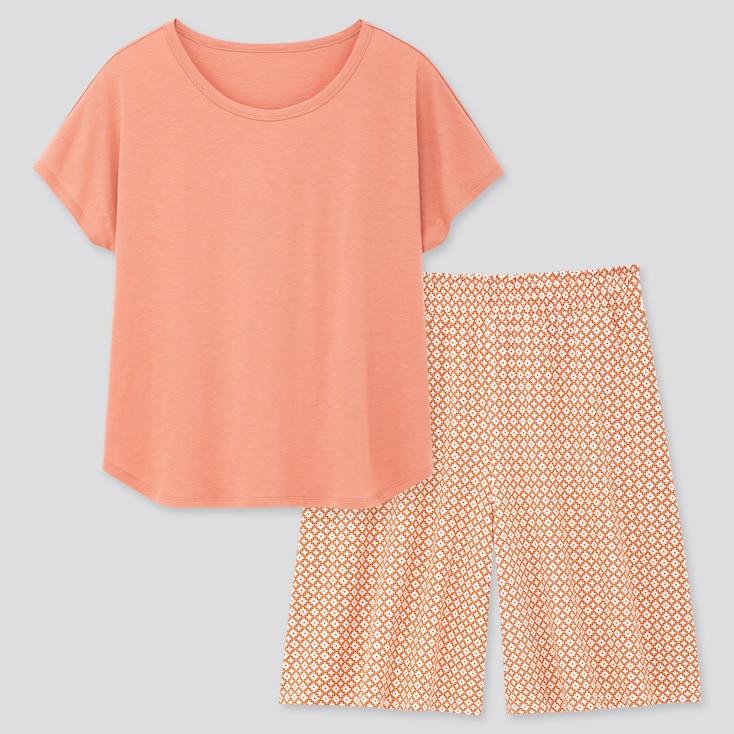 Women Printed Short-Sleeve Lounge Set, Pink, Large