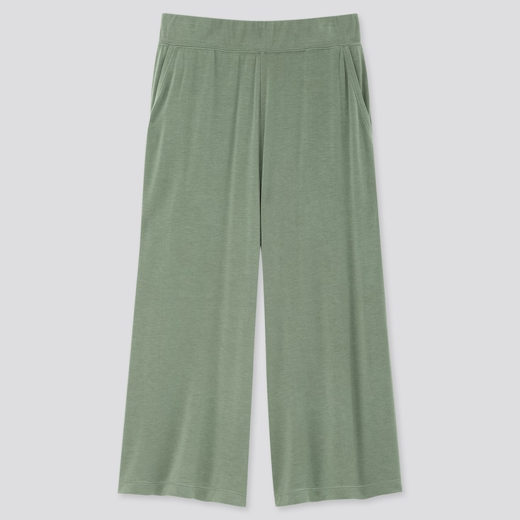 Women Ultra Stretch Soft Cropped Pants, Green, Large
