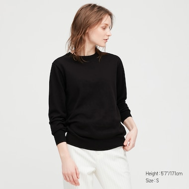Women Cotton Cashmere Crew Neck Sweater, Black, Medium