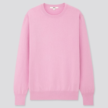WOMEN COTTON CASHMERE CREW NECK SWEATER, PINK, medium