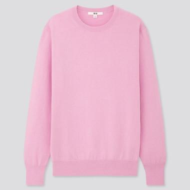 Women Cotton Cashmere Crew Neck Sweater, Pink, Medium