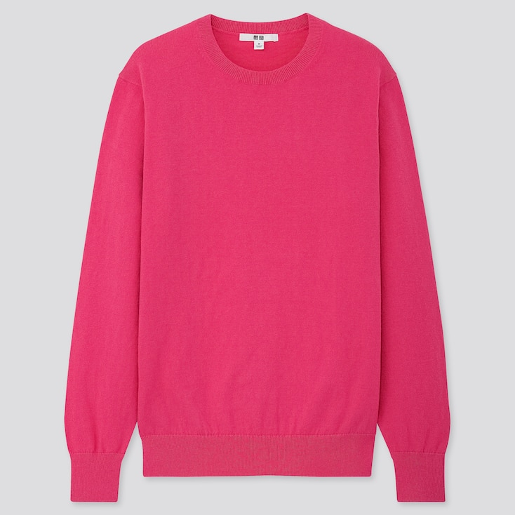 Women Cotton Cashmere Crew Neck Sweater, Pink, Large