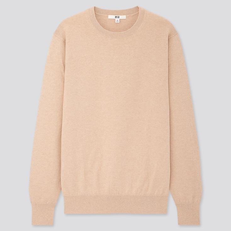 Women Cotton Cashmere Crew Neck Sweater, Beige, Large