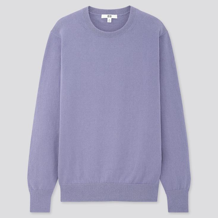 Women Cotton Cashmere Crew Neck Sweater, Blue, Large
